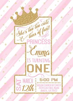 First Princess Birthday Invitation / Gold Glitter Birthday Invitation / 1st…