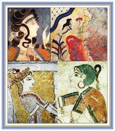 2 Collages of Minoan Goddess, her worshippers, Saffron Gatherers & other…