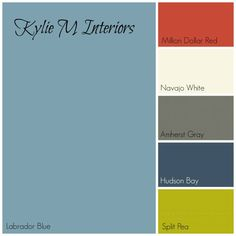 labador blue by benjamin moore paint colour palette with red, cream, gray, navy blue and green for boys room - for W.