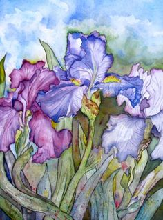 Iris Watercolor Paintings  -  Little sister this beautiful painting makes me think of you