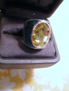 """Retro Vintage Ring Size 7 Big Blue Enamel w Faceted Faux Citrine 3/4"""" Tall #unbranded #Solitaire"""
