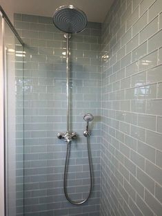Smoke Glass Subway Tile Subway Tile Showers Design, Pictures, Remodel, Decor and Ideas smoke glass Shower Remodel, Shower Tile, Glass Subway Tile, Green Bathroom, Trendy Bathroom, Luxury Tile, Amazing Bathrooms, Glass Tile, Bathroom Shower