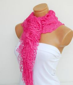 Latest Fashion filet knit pink women scarf by WomanStyleStore, $19.00