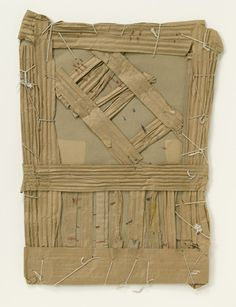Cardboard construction by James Castle. Untitled 1935. Crayon on cardboard sewn with string.