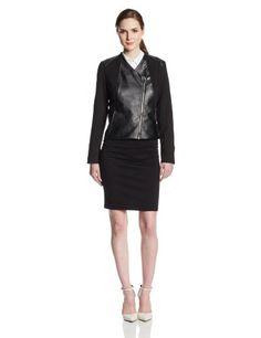 Calvin Klein Women's Faux Leather With Lux Moto Jacket, Black, Small Calvin Klein,