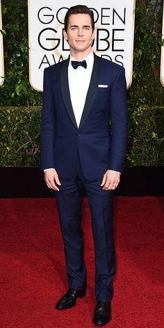 Gentlemen take note: this is how you pull off a navy tux. Matt Bomer. Golden Globe Awards 2015.