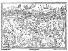 LAND of the UNICORNS: doodle art colouring poster: This was uploaded by doodleartposters, FREE jpg download @ photobucket.