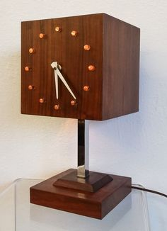 Mid Century Modern George Nelson Style Walnut Cube Table Clock Lamp in Antiques, Periods & Styles, Mid-Century Modernism | eBay