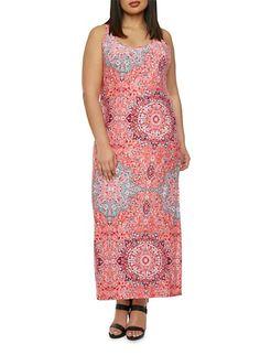 Plus Size Maxi Dress in Ornate Print