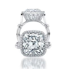 Uneek Platinum 7.60ct Cushion-Cut Diamond Ring LVS795