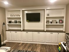 shiplap basement walls Rugs is part of The Next Big Project Shiplap In The Basement Family Room - Shiplap entertainment center Living Room Entertainment Center, Diy Entertainment Center, Entertainment Weekly, Wedding Entertainment, Entertainment System, Basement Bedrooms, Basement Walls, Basement Ideas, Tv Walls
