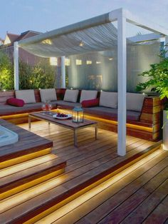 In concern of shading ideas for your backyard, pergola gazebos provide shade but not too much without more arrangement for shading. Normal pergola not provide shades as pergolas a opened roof ideas usually, but its depend on your choice you can put c Rooftop Design, Patio Design, Roof Terrace Design, Balcony Design, House Design, Wall Design, Design Exterior, Interior Exterior, Room Interior