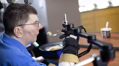 William Kochevar, paralyzed from the shoulders down, can use a brain implant to control his arm and lift a fork to his mouth. #technology #photography #amazing #internet #newsoftheday #news #bestoftheday #wearabletechnology #wearables