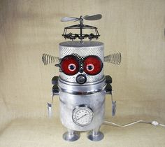 Robot Lamp - QUIGLEY - assemblage sculpture - table lamp - Reclaim2Fame | Flickr - Photo Sharing!
