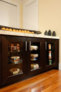 Kid friendly kitchen. Shallow base cabinets, allow kids to reach into and get glasses, plates.