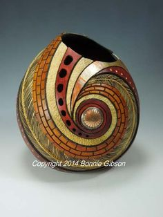 Distinctive southwest gourd art by Bonnie Gibson. View some of my current work and gourds that are for sale. Decorative Gourds, Hand Painted Gourds, Gourds Birdhouse, Gourd Lamp, Sculptures Céramiques, Creation Deco, Nature Crafts, Pyrography, Wood Art
