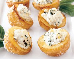 salt baked potatoes with goat cheese