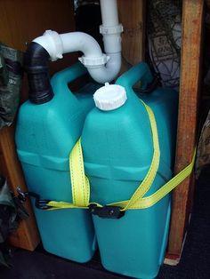 Camper van sink with manual pump