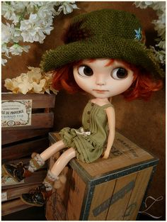 Blythe clothes  Babydoll Playsuit  Pistachio Green  by Zolala