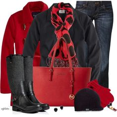 J.Crew Tall stretch perfect shirt...I love red and black! WANT a pea coat! Love the polka dot scarf