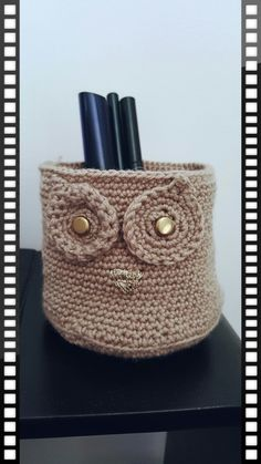 #chouette #grosyeux #rangement #maquillages #crayons #laine #tricot