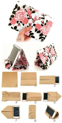 スマホ&タブレットケースの作り方 [折るだけ簡単] Mobile Stand-Case Made of one-sheet. No sewing, gluing…