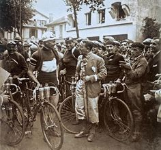This photo shows Alfredo Binda at the start of one stage of the Tour from 1930, the crowd gathers to farewell the heroes of the Tour de France. Champion of the Giro d'Italia, Binda won the eighth and queen stage, stage nine, over the Tourmalet before abandoning in the 10th