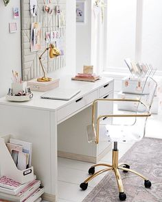 Most Neglected Fact About White Office Decor Exposed 199 - athomebyte Home Office Space, Home Office Desks, White Desk Furniture, Cute Office Decor, Office Setup, Office Ideas, Office Style, Study Room Decor, Teen Study Room
