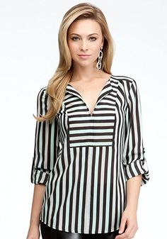 bebe Tricolor Stripe V-neck Tunic Woven Tops Tri Color Stripe 4-m