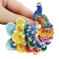 "2.76"" Peafowl Peacock Stretch Ring Sz Free Swarovski Crystal Multi Enamel #Swarovski"