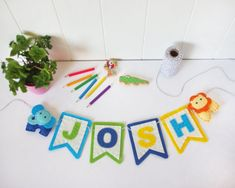 Customise this felt garland with your child or baby's name for the perfect personalised nursery decor Playroom Wall Decor, Felt Garland, Felt Banner, Animal Nursery, Girl Nursery, Felt Baby, Woodland Nursery Decor, Baby Deer, New Baby Gifts