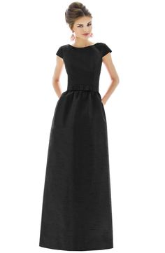 Free shipping and returns on Alfred Sung Cap Sleeve Dupioni Full Length Dress at Nordstrom.com. In a timeless and universally flattering silhouette, a lush dupioni gown begins with a cap-sleeve bodice structured by princess seams and styled with a collarbone-skimming neckline that dips to a pretty V in back. A picot-trimmed bow adorns the front waist above the gathered A-line skirt for a sweetly retro touch.