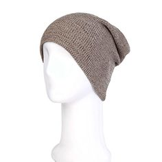 Premium Unisex Long Slouchy Fine Heather Ribbed Knit Beanie Hat Cap Taupe   gt  gt  94c5be54c034