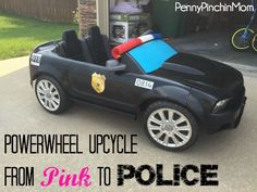 Find out how we turned a HOT PINK Barbie Mustang into a sleek black police cruiser -- for less than $40!!!