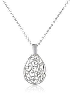 """Sterling Silver Bali Filigree Teardrop Necklace, 18"""""""