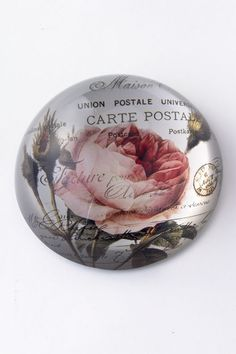 Rose Glass Paperweight $32