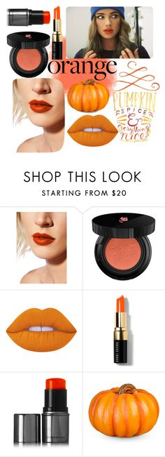 """Orange Lips and Cheeks"" by magriatrix ❤ liked on Polyvore featuring beauty, Lime Crime, Lancôme, Bobbi Brown Cosmetics, Burberry, Improvements, orangelips and orangecheeks"