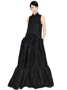 RUFFLED SILK ORGANZA MAXI DRESS