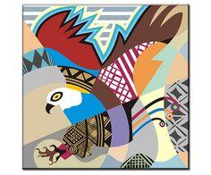 "Eagle Art Print  on Wood Block - American Eagle Wall Hanging -  Eagle Wall Decor - Eagle Applique - Eagle Print Pop Art - 8"" X 8"" X 1.5"""