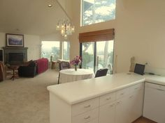 View from kitchen to living and dining areas