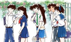 Detective Conan - Kaito and Aoko, Shinichi and Ran, Heiji and Kazuha