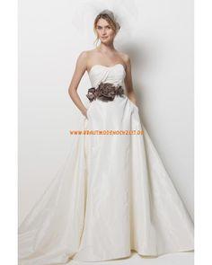 Brautkleid aus Satin Bodenlang Trägerlos Herz-Ausschnitt mit Blumen