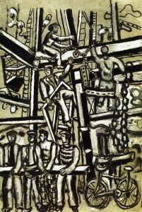 Construction Workers - Fernand Léger - The Athenaeum Office Artwork, Construction Worker, Scaffolding, Cubism, Belfast, Teamwork, City Photo, Buildings, The Past