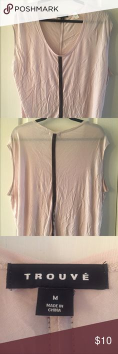 Trouve Neutral Shirt With Leather Accent Strip Very soft, very flattering, and barely worn! Leather strap detailing and can easily be dressed up or down. Not normal this wrinkly. Make and offer! Trouve Tops Tees - Short Sleeve