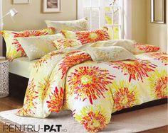 Lenjerie de pat 100% bambus Pucioasa cu flori portocalii Comforters, Blanket, Bed, Home, Stream Bed, House, Ad Home, Rug, Homes