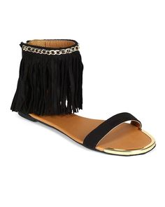 Qupid Women Suede Open Toe Gold Link Chain Fringe Ankle Cuff Flat Sandal Black Size 70 ** Continue to the product at the image link. (This is an affiliate link) Flat Sandals, Womens Flats, Open Toe, Ankle, Chain, Gold, Image Link, Stuff To Buy, Shoes