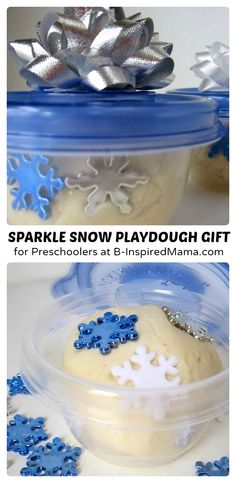 Sparkle #Snow Homemade #Playdough Gifts for #Kids - #kbn #preschool