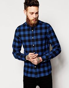 ASOS Shirt In Long Sleeve With Brushed Buffalo Check