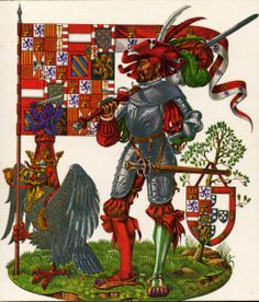 A Landsknecht with the arms of Emperor Charles V, married Isabella of Portugal. Crowned emperor of the Holy Roman Empire in 1520. By the late Dan Escott.