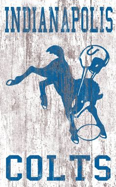 """Indianapolis Colts Distressed Logo 11""""x19"""" Wall Art"""